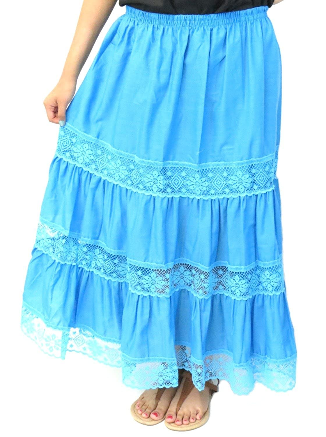Women's Turquoise Cotton Mexican Lace Skirt - DeluxeAdultCostumes.com