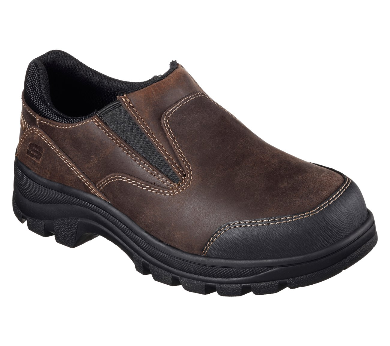 SKECHERS Work Women's Workshire - Teays Dark Brown Buffalo Crazyhorse Leather Shoe