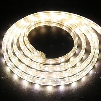 XUNATA 12m Tiras LED Blanco calido, 220V SMD 5050 60LEDs/m, IP67 Impermeable, Escalera de Techo Tira de LED Cocina Cable Luces Flexible LED Strip Light Decoración: Amazon.es: Iluminación