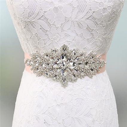 Zdada Bridal Wedding Dress Sash Belt Crystal Rhinestone Applique