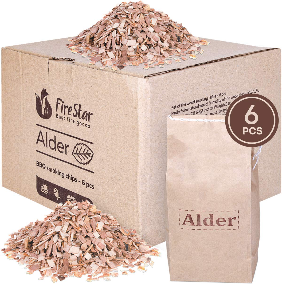 Alder wood chips for smokers - 6 packs wood chips for smoking and grilling - Wood chips for electric smokers