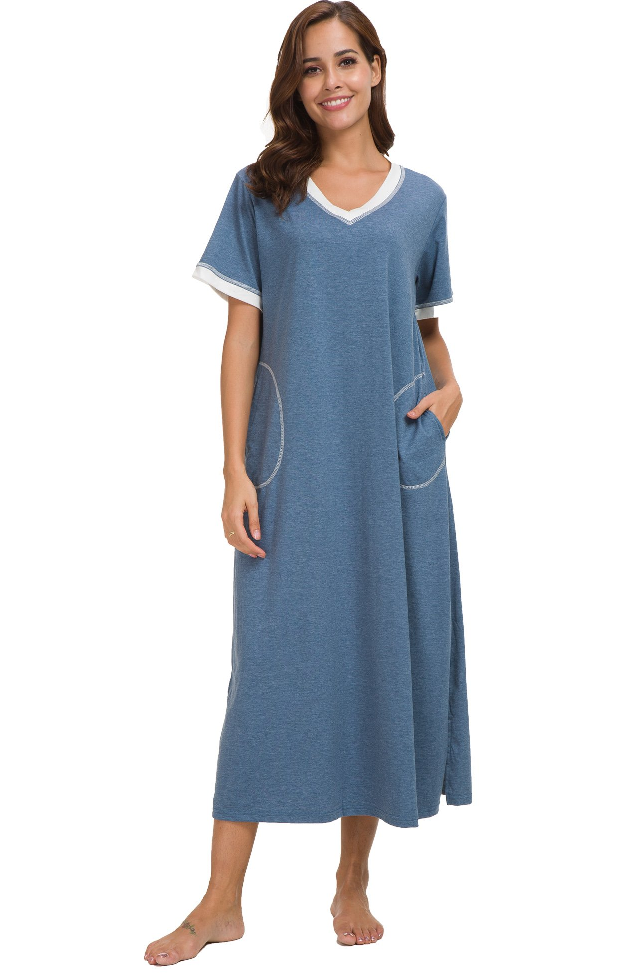 Supermamas Long Nightgown Womens Cotton Knit Short Sleeve Nightshirt with Pockets(Blue, XL)