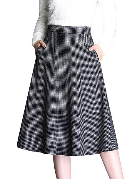 f8db58f1d42d Tanming Women s High Waist A-Line Check Plaid Midi Skirt at Amazon ...