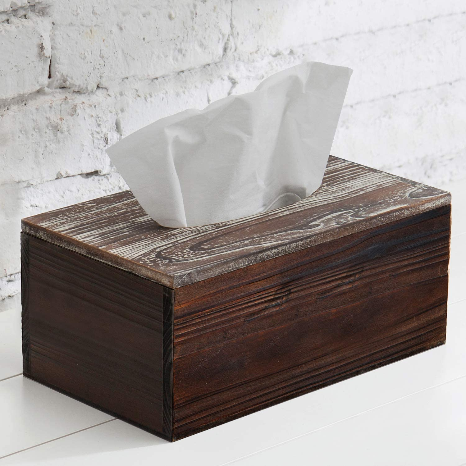 MyGift Rustic Distressed Textured Torched Wood Tissue Box Holder