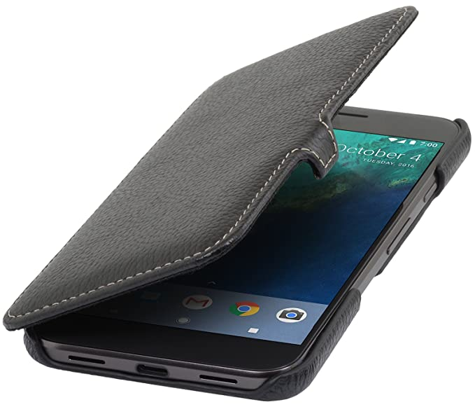 free shipping 3cc68 9cb9a StilGut Book Type with Closure, Genuine Leather Case for Google Pixel XL,  Flip Cover with Smart Sleep/Wake Function, Full Body Protection, Black