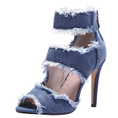 89a802dc31de Latasa Women s Peep-Toe High Heel Denim Sandals (4.5