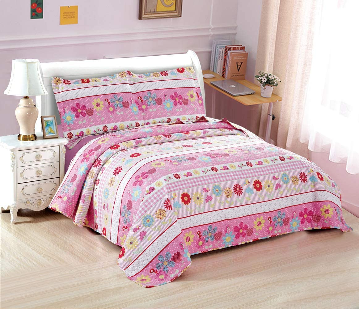 3-Piece Pink Flower Daisy Quilt Set