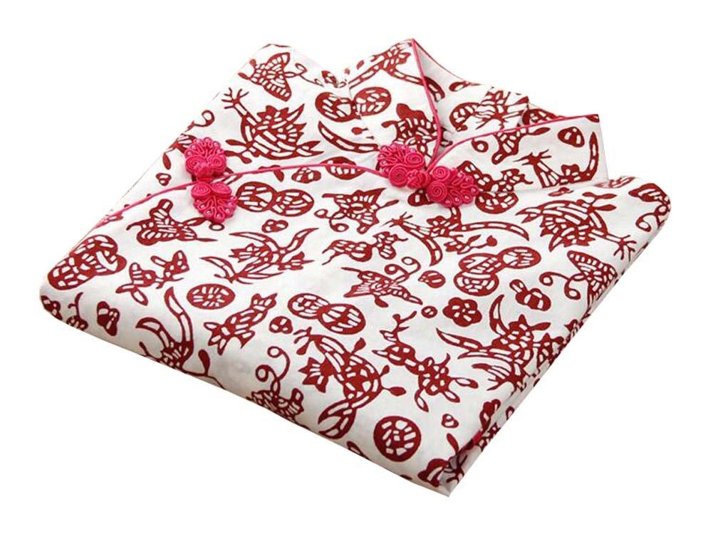 East Majik Fashion Girls Dress Red Decoupage Cotton Cheongsam Chinese Style by East Majik