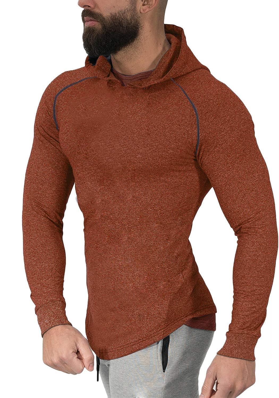 PAIZH Men's Lightweight Workout Training Pullover Hooded Sweatshirt