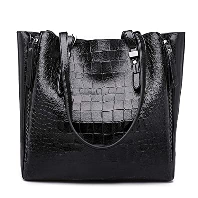 2a7b32d7717 Mn&Sue Women Shoulder Tote Bags Vintage Crocodile Pattern Handbags Top  Handle Leather Purse Large Satchel