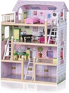 Amazon.es: Baby Vivo Casa de Muñecas de Madera con Miniatura Muebles Escalera Ascensor Sueño Mansion para los Niños - Lavinia: Juguetes y juegos