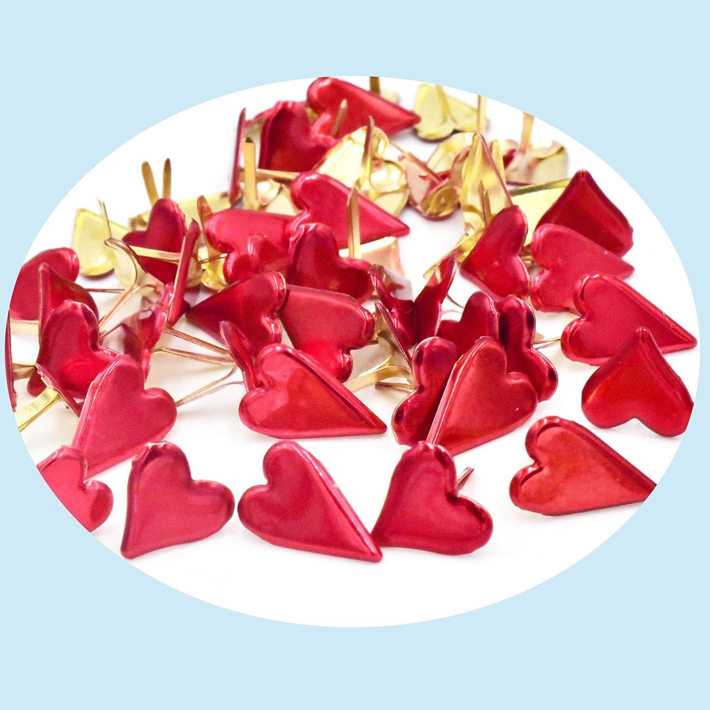 Lilie Cr/éa 100 Attaches parisiennes Coeurs Rouges m/étalliques brads Scrapbooking Fabrication de Cartes Faire Parts Mariage 15 mm 12 mm