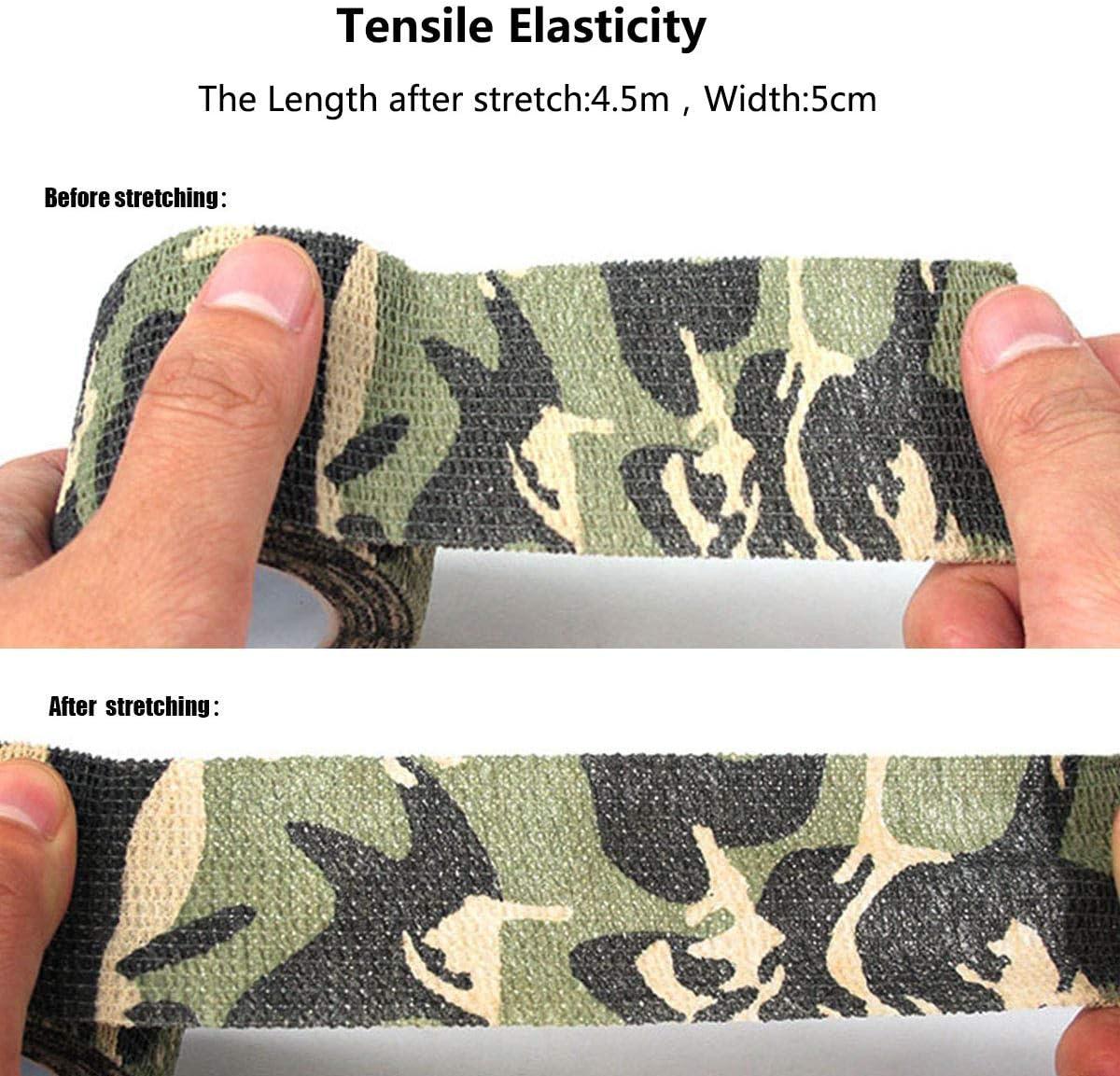 Jungle-Camo Tape AIWEIYER Lot de 5 Rouleaux de Ruban adh/ésif de Camouflage Militaire en Tissu Non tiss/é 4,5 m
