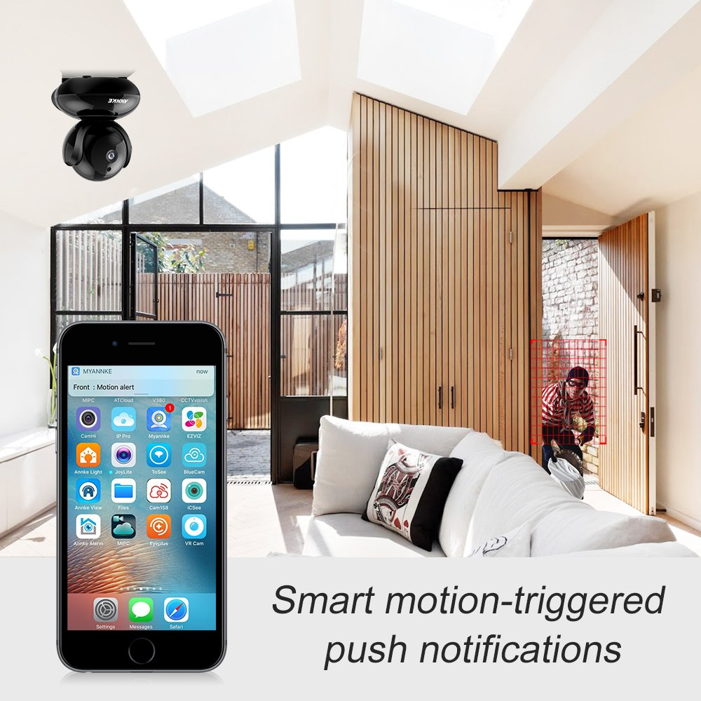ANNKE HD 1280x720p HD Network Cloud Wireless IP Camera, Pack of 2, 1 0  Megapixels, Day Night Pan/Tilt Baby Monitor / 720P Surveillance Camera