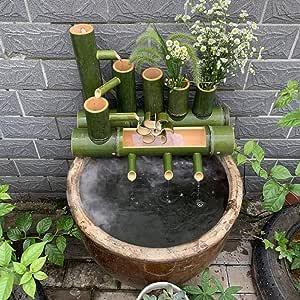 QXTT Fuente De Bambu Exterior para Jardín Decoración del Hogar Cascada Jardín Japonés Al Aire Libre Característica Estatuas Fuentes Decorativas Interior Exterior,80cm: Amazon.es: Hogar