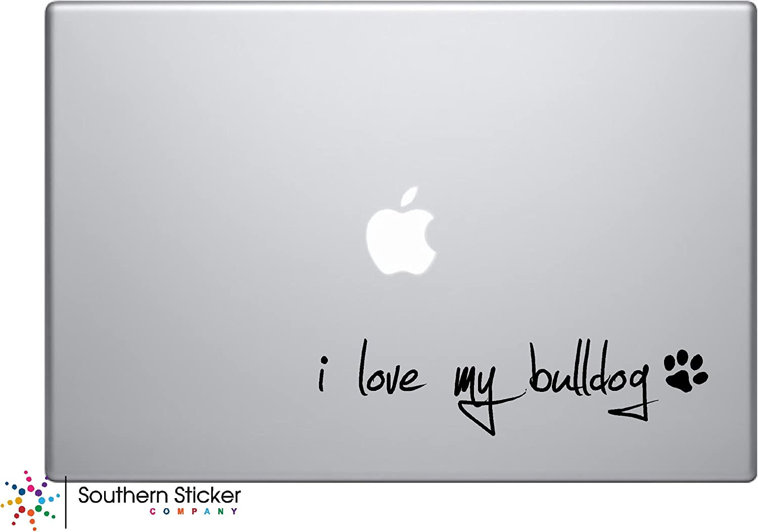 I Love My Bulldog Dog Puppy Vinyl Car Sticker Symbol Silhouette Keypad Track Pad Decal Laptop Skin Ipad MacBook Window Truck Motorcycle