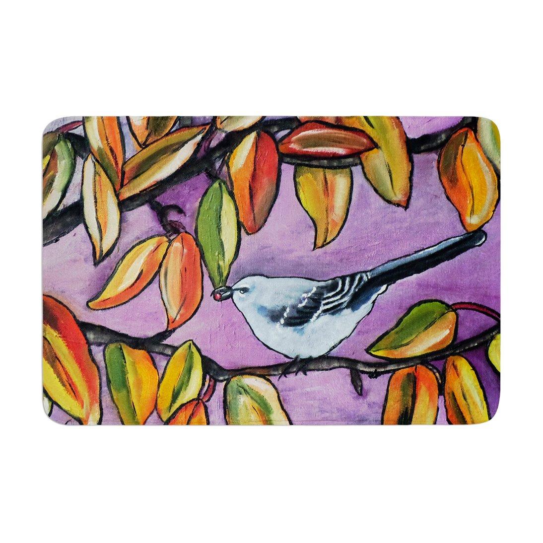 17 by 24 Kess InHouse Cathy Rodgers Mockingbird Purple Orange Memory Foam Bath Mat
