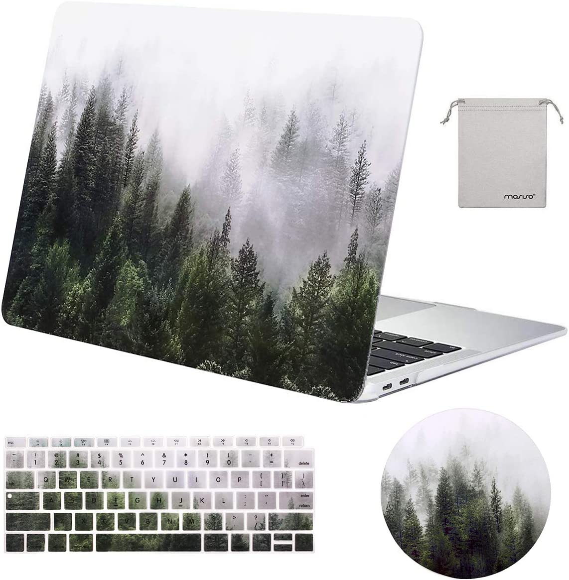 MOSISO MacBook Air 13 inch Case 2020 2019 2018 Release A2179 A1932 Retina Display,Plastic Pattern Hard Case & Keyboard Cover & Mouse Pad & Storage Bag Only Compatible with MacBook Air 13, Green Forest