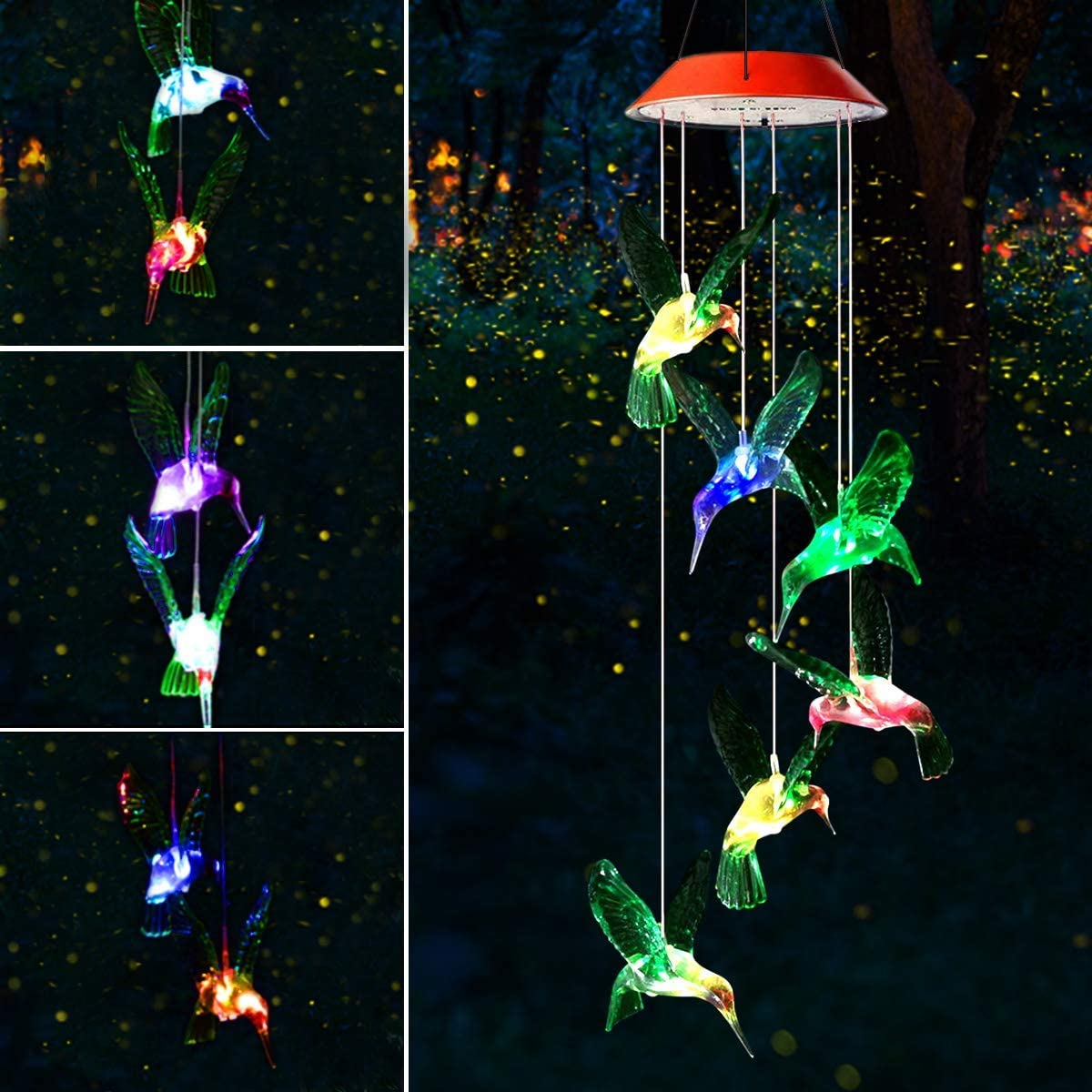 Patio Color Changing LED Wind Chimes Outdoor D/écor for Garden Gifts for Mom Yard Grandma Wife Home Waterproof Wind Mobile Solar Lights SIX FOXES Hummingbird Solar Wind Chimes