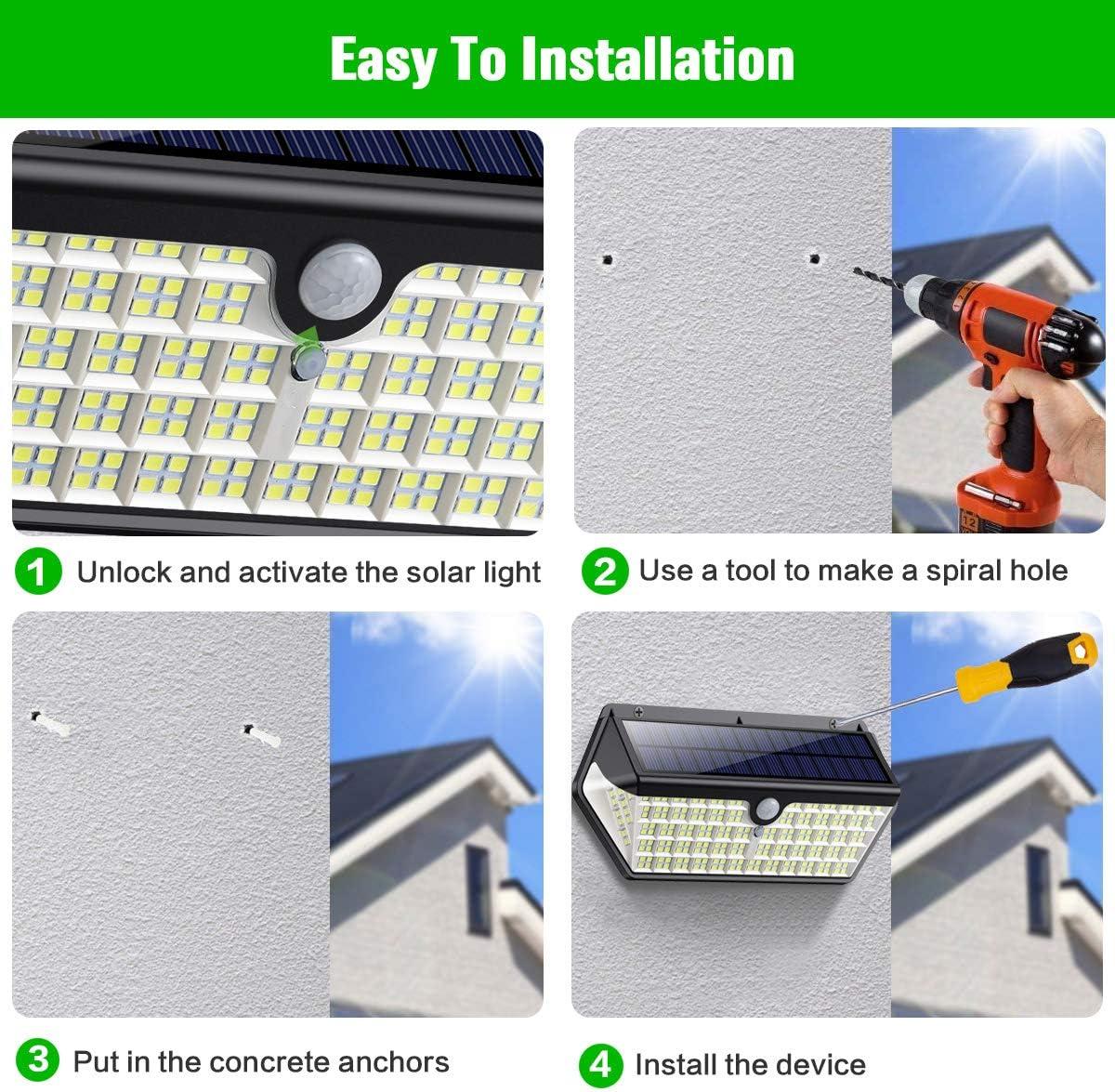 BLOOMWIN Solar-Au/ßenleuchte mit Bewegungsmelder 3 Modi IP65 Solarleuchte 360 /° Wandlampe mit einstellbarem Winkel Solar Leistungsstarke Scheinwerfer-Sicherheits-Gartenlampe 72 LEDs