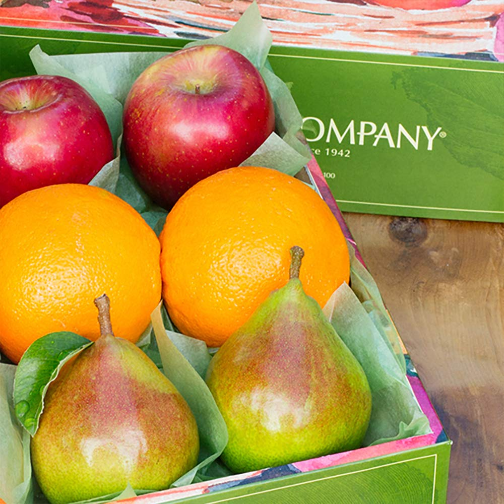 The Fruit Company Mixed Fruit Medley Gift Box - 4 lbs - An Assortment of 6 Pieces of Premium Apples, Pears and Oranges Hand-Packed in a Reusable Watercolor Box Designed by a Local Oregon Artist