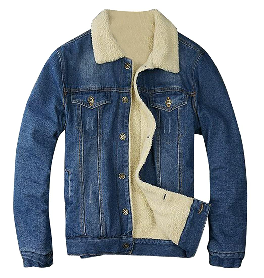 SYTX Mens Winter Lamb Wool Lined Denim Jacket Coat Parkas Outerwear