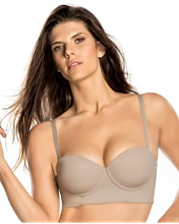 90e2ef24972d8 Leonisa Strapless Longline Slimming Bra for Women with Back and Side  Smoothing and Light Push Up