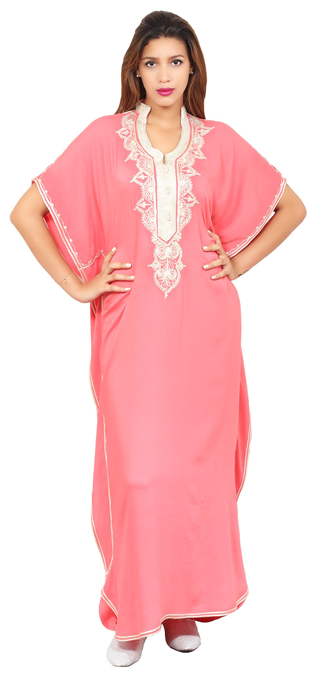 Moroccan Caftan Hand Made Top Quality Fits SMALL to LARGE Breathable Cotton with Hand Embroidery Long Length