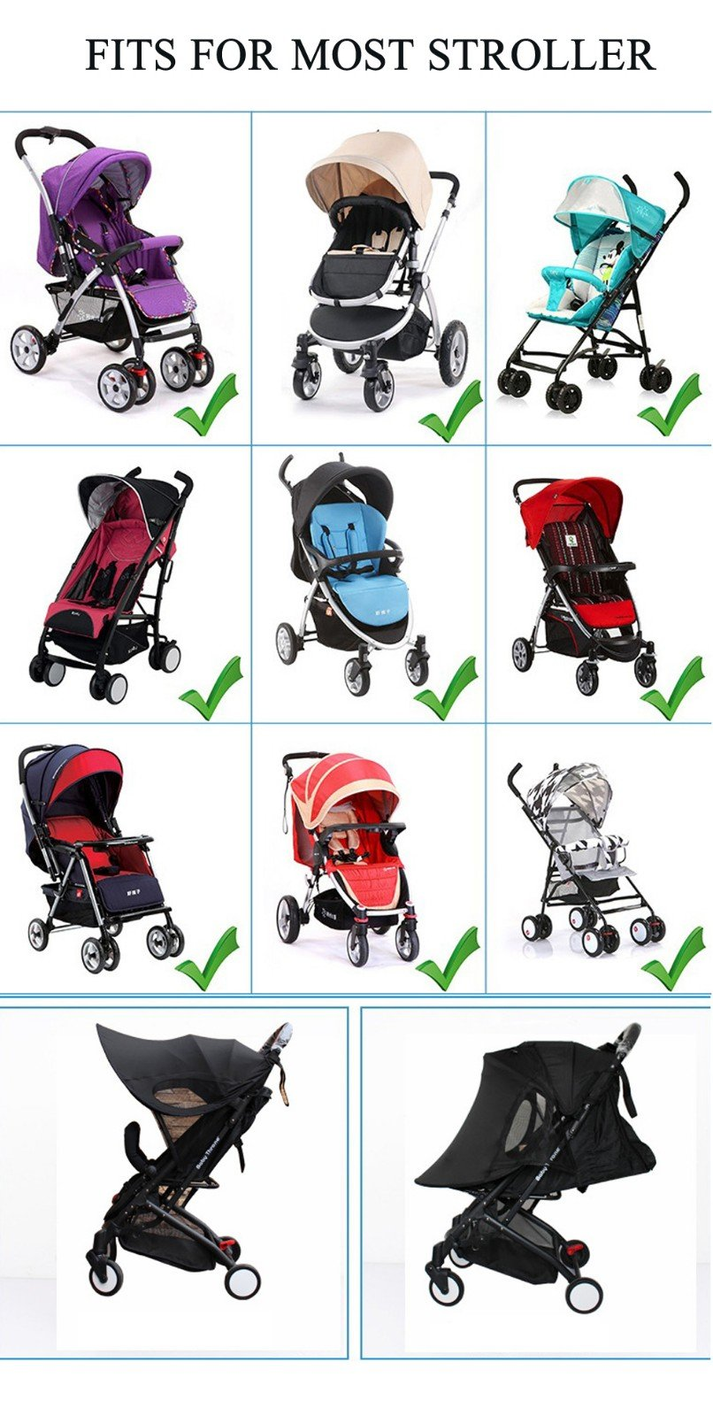 Baby Stroller Sun Ray Shade Pram UV Protection Cover, Weather Shield, Universal, Cotton LYCRAR for Infant Kids- 4 Colors,Black by YWXJY (Image #7)