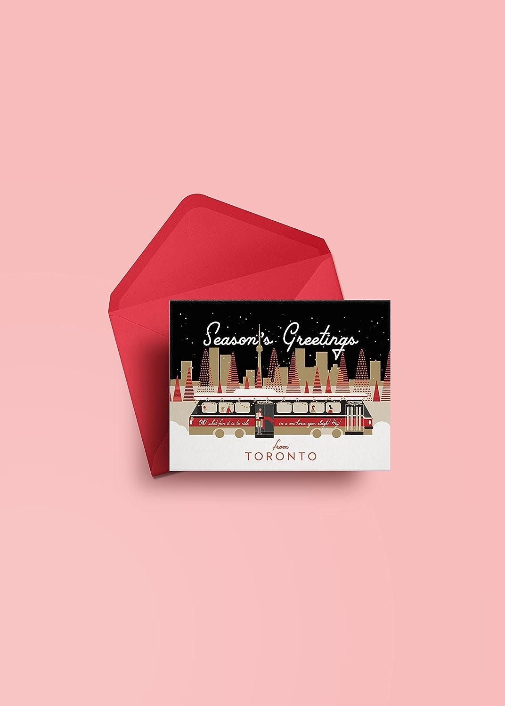 Toronto Streetcar and Skyline Holiday Christmas Greeting Card