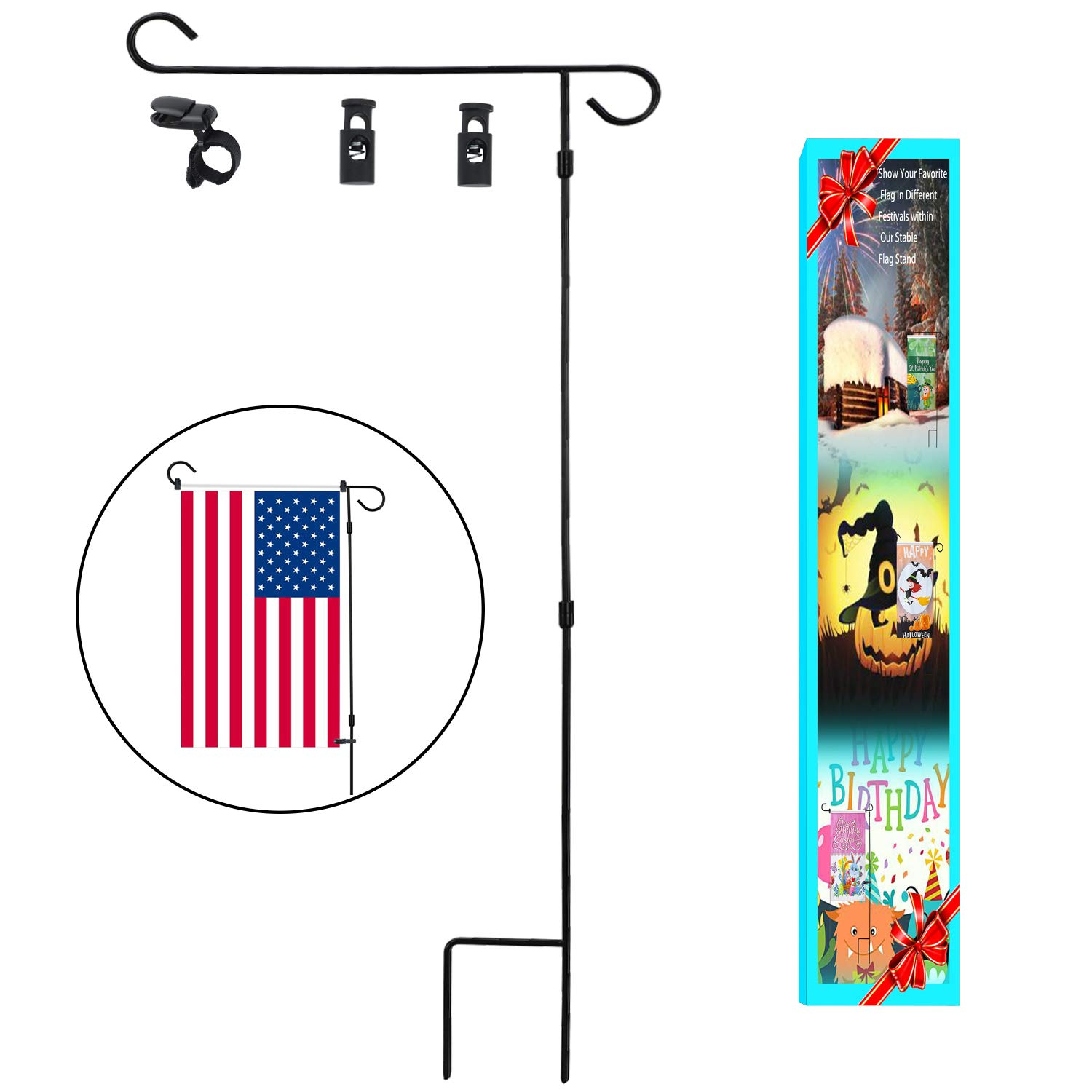 HOOSUN Garden Flag Stand Holder Pole Easy to Install Strong Sturdy Wrought Iron 36'' x 18'' Fits 12.5'' x 18'' Mini Flag with 1 Tiger Anti-Wind Clip 2 Anti-Wind Spring Stoppers