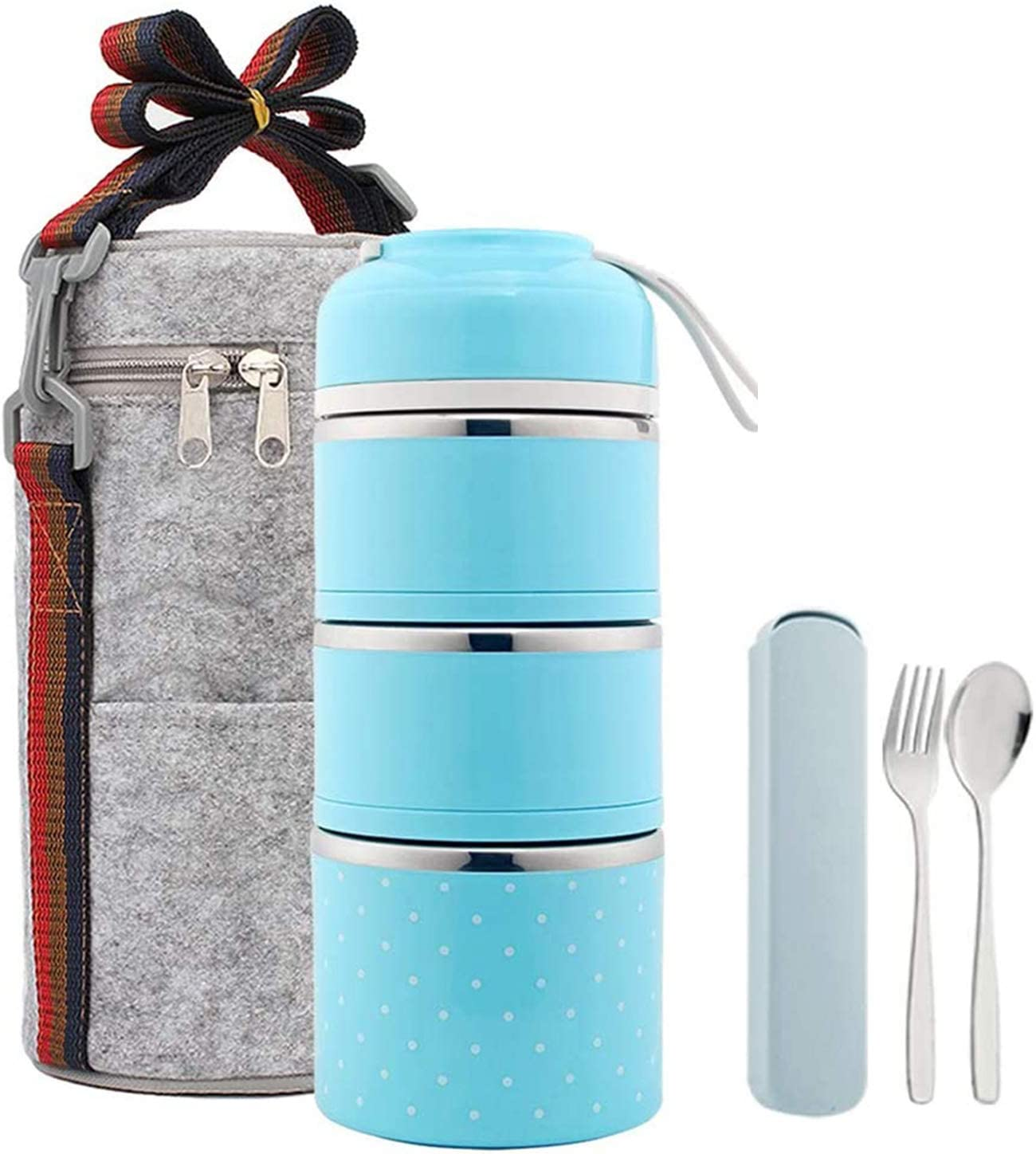 Bento Lunch Box, Stackable Stainless Steel Thermal Lunch Box with Insulated Lunch Bag and Folding Spoon, Meal Prep Bento Box Containers for Adults School,Office, BPA Free(3Tier,Blue)