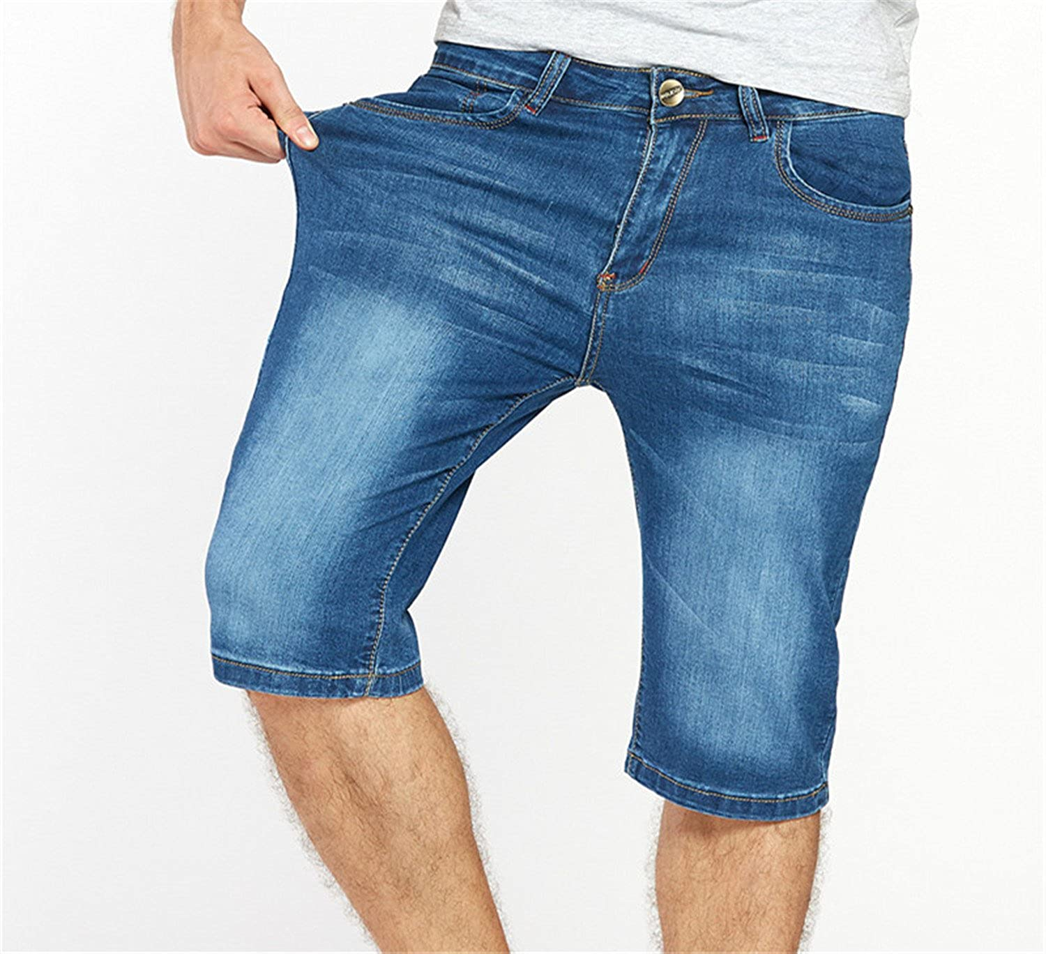 dc19028670b Woodin Mens Jeans Shorts Plus Size Stretch Thin Denim Jeans Short For Men  Pants Summer at Amazon Men s Clothing store