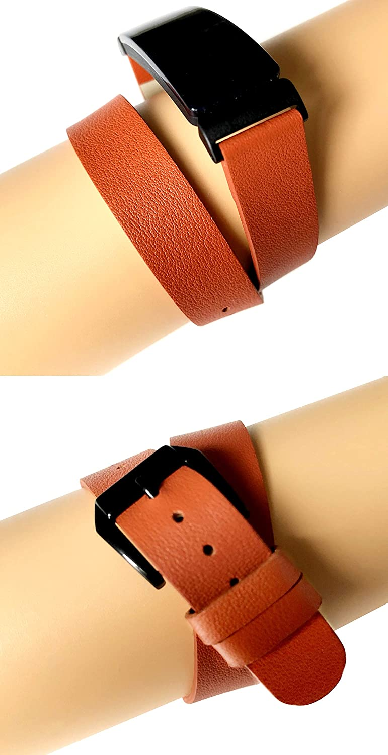Orange Band for Fitbit Inspire HR Fitness Tracker Soft Leather Strap Wristband Twice Double Wrap Bracelet in Silver Black Rose Gold Finish
