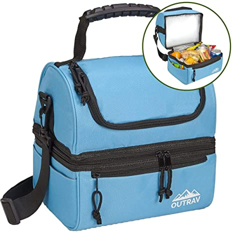 c83dd03984b Blue Padded Insulated Lunch Bag Cooler – Soft Collapsible Leak Proof Tote  For Camping, Picnics