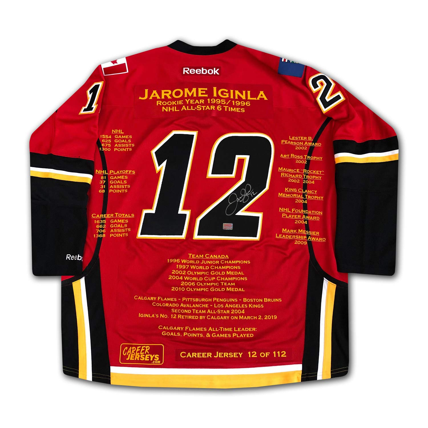 new product 56aef 58949 Jarome Iginla Career Jersey #12 of 112 - Autographed ...