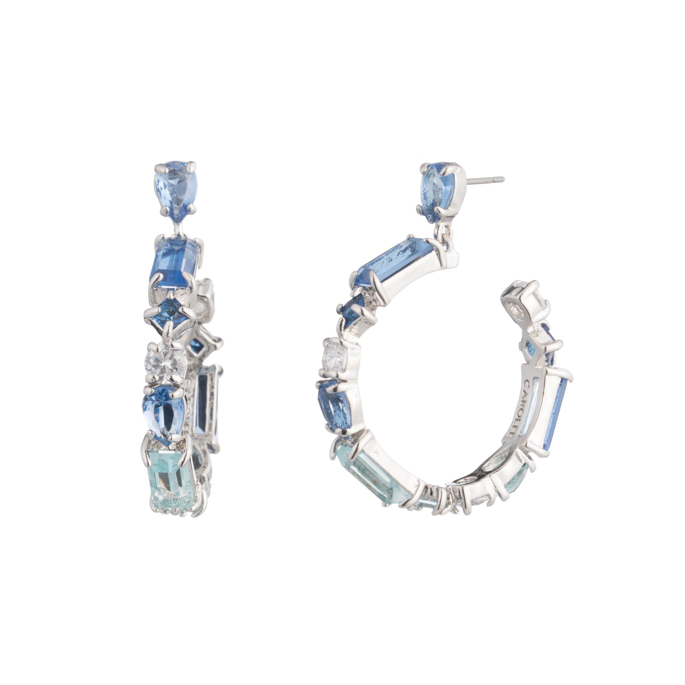 Carolee Women's Ocean Blues-Pe-Stone Hoop Drop Earrings, Silver/Blue, One Size