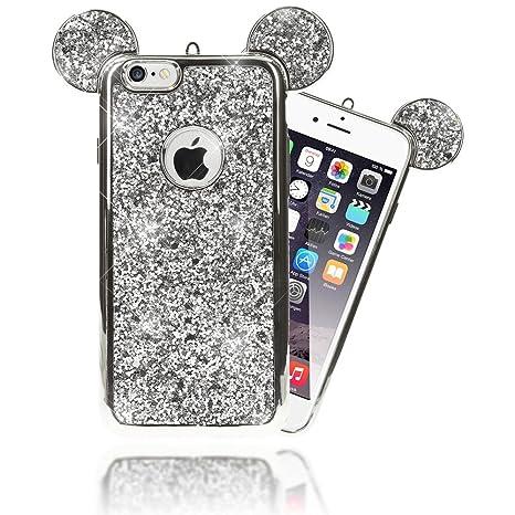 NALIA Purpurina Funda Orejas para iPhone 6 6S, Carcasa Protectora Movil Silicona Fina Glitter Bumper Estuche, Lentejuela Cubierta Delgado Cover Case ...