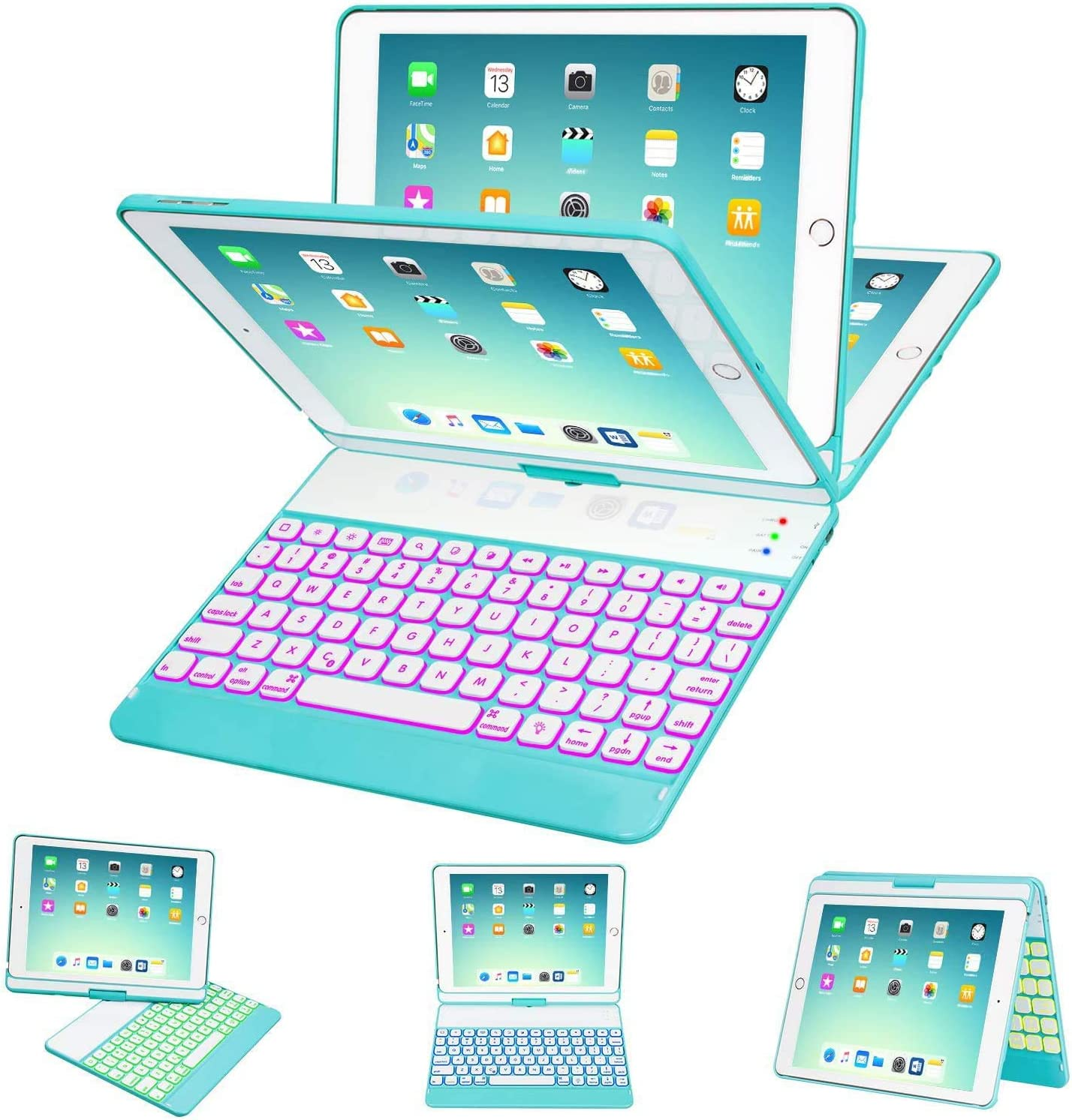 iPad Keyboard Case 9.7 for iPad 2018 (6th Gen) - 2017 (5th Gen) - iPad Pro 9.7 - iPad Air 2 & 1, 7 Color Backlit Keyboard Case/360 Rotate Wireless/BT Keyboard Case with Auto Sleep/Wake (Tiffany Blue)