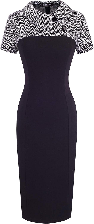 HOMEYEE Women's Retro Chic Colorblock Lapel Career Tunic Dress B238