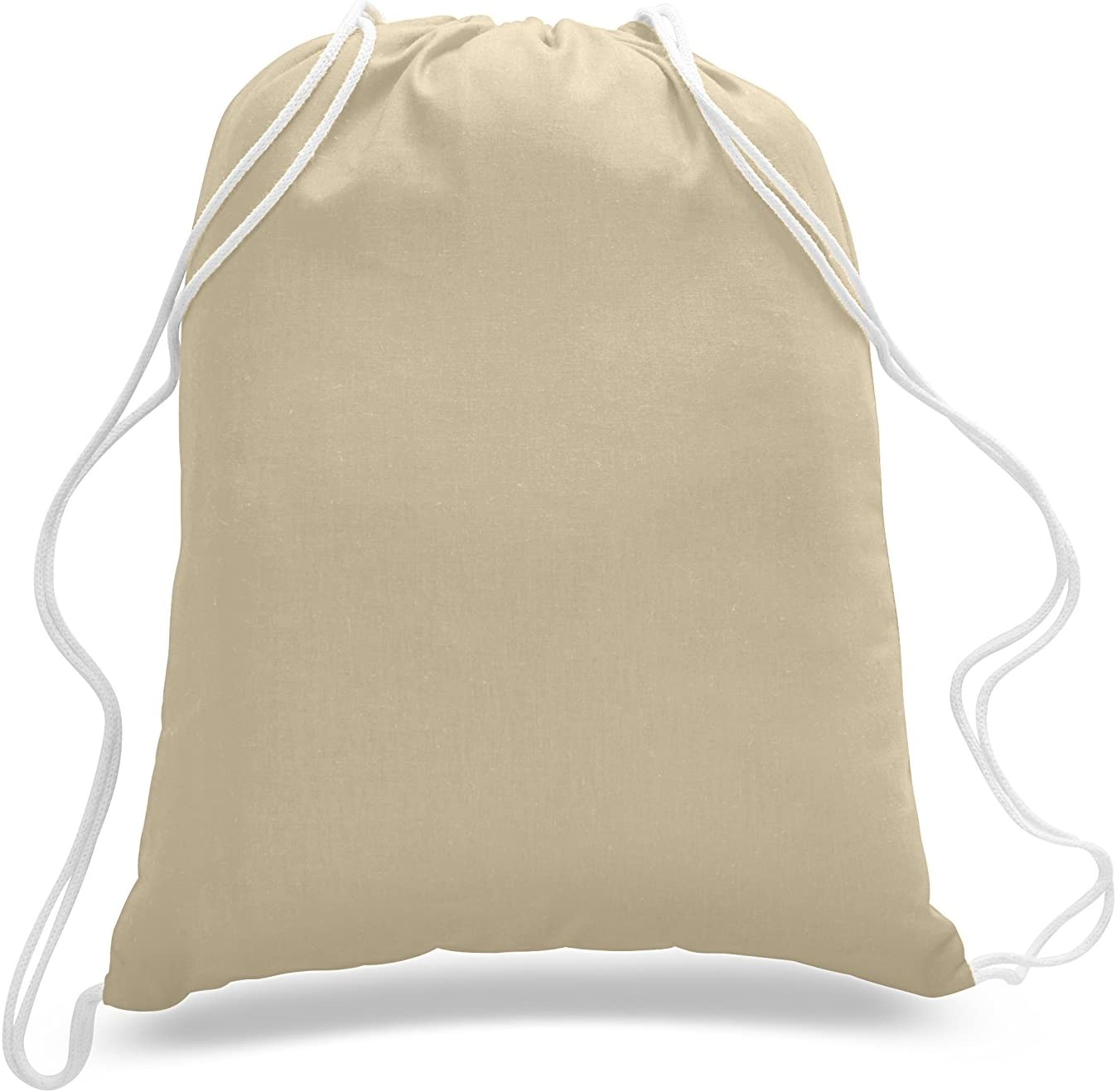 12 Pack 100/% Cotton Sport Pack Large Size Drawstring Bags Natural Color