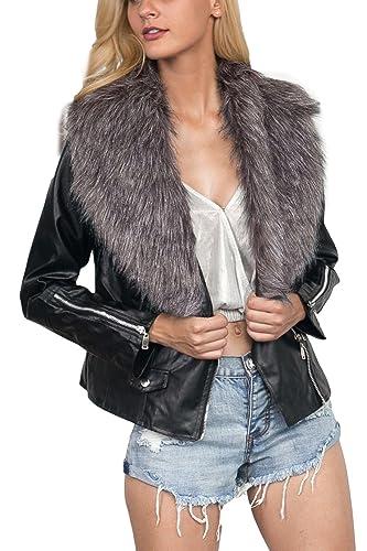 YACUN Mujeres Faux Fur Patch Corta Chaqueta De Abrigo Cremallera Outwear Tops