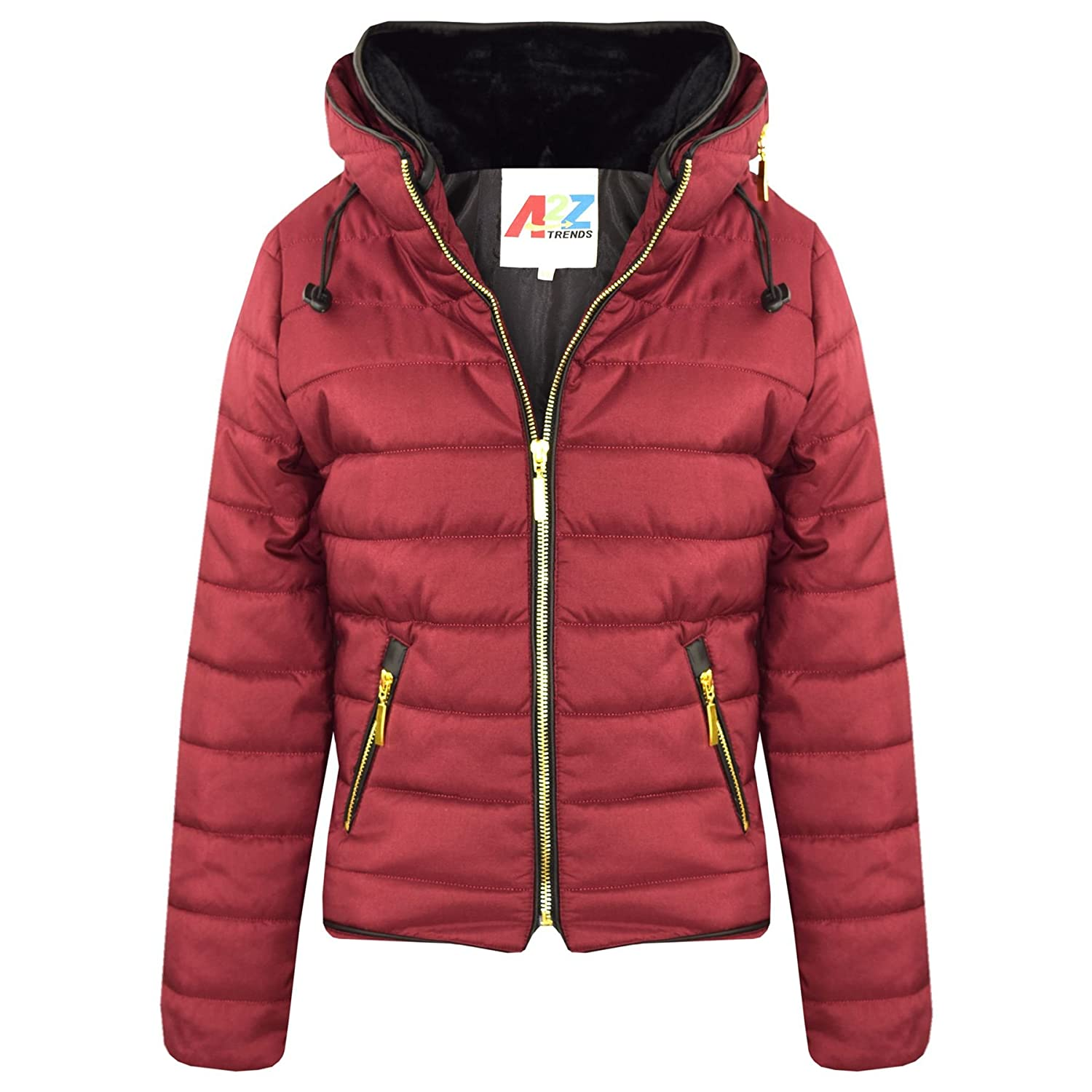 A2Z 4 Kids® Girls Jacket Kids Stylish Padded Puffer Bubble Faux Fur Collar Quilted Warm Thick Coat Jackets Age 3 4 5 6 7 8 9 10 11 12 13 Years