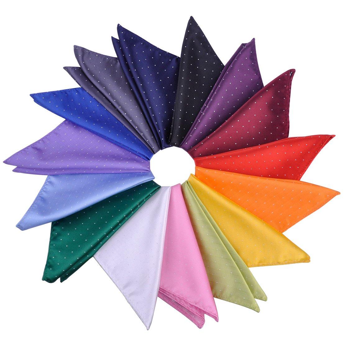 15 pcs 12x12'' Men's Polka Dot Pocket Square Jacquard Woven Handkerchief Gift ciciTree