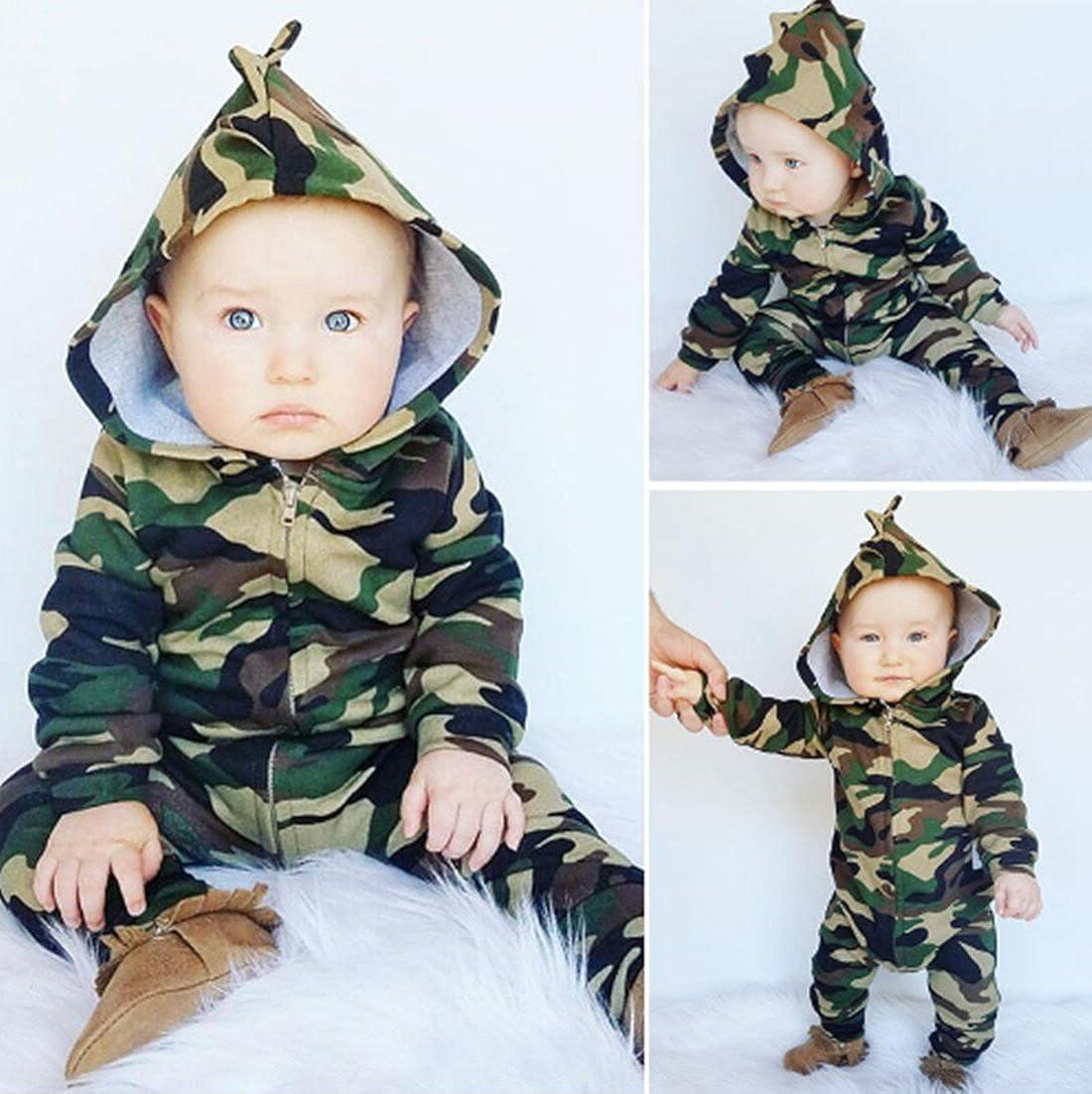 SUPEYA Toddler Baby Boy Girl Camouflage Print Jumpsuit Casual Zipper Hoodies Romper