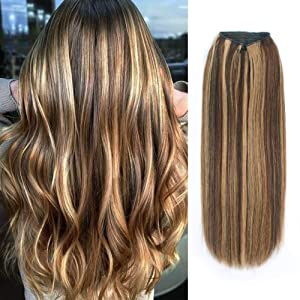 ABH AMAZINGBEAUTY Halo Hair Extensions, Remy Human Hair, Thcik Full Head 100 Gram, Chocolate Brown with Warm Beach Blonde Highlights Color 4-27, 16 Inch