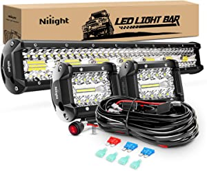 Nilight 20Inch 420W Triple Row Spot Flood Combo Led Light Bar Work Driving Lamp 2Pcs 4Inch 60W Cube LED Pods Lights for Trucks with Off-Road Wiring Harness Kit-3 Leads, 2 Year Warranty