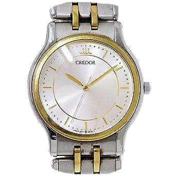 b3be99d7ea セイコー クレドール SEIKO CREDOR メンズ 腕時計 9571 6020 コンビ シルバー 文字盤 K18YG クォーツ ウォッチ 【