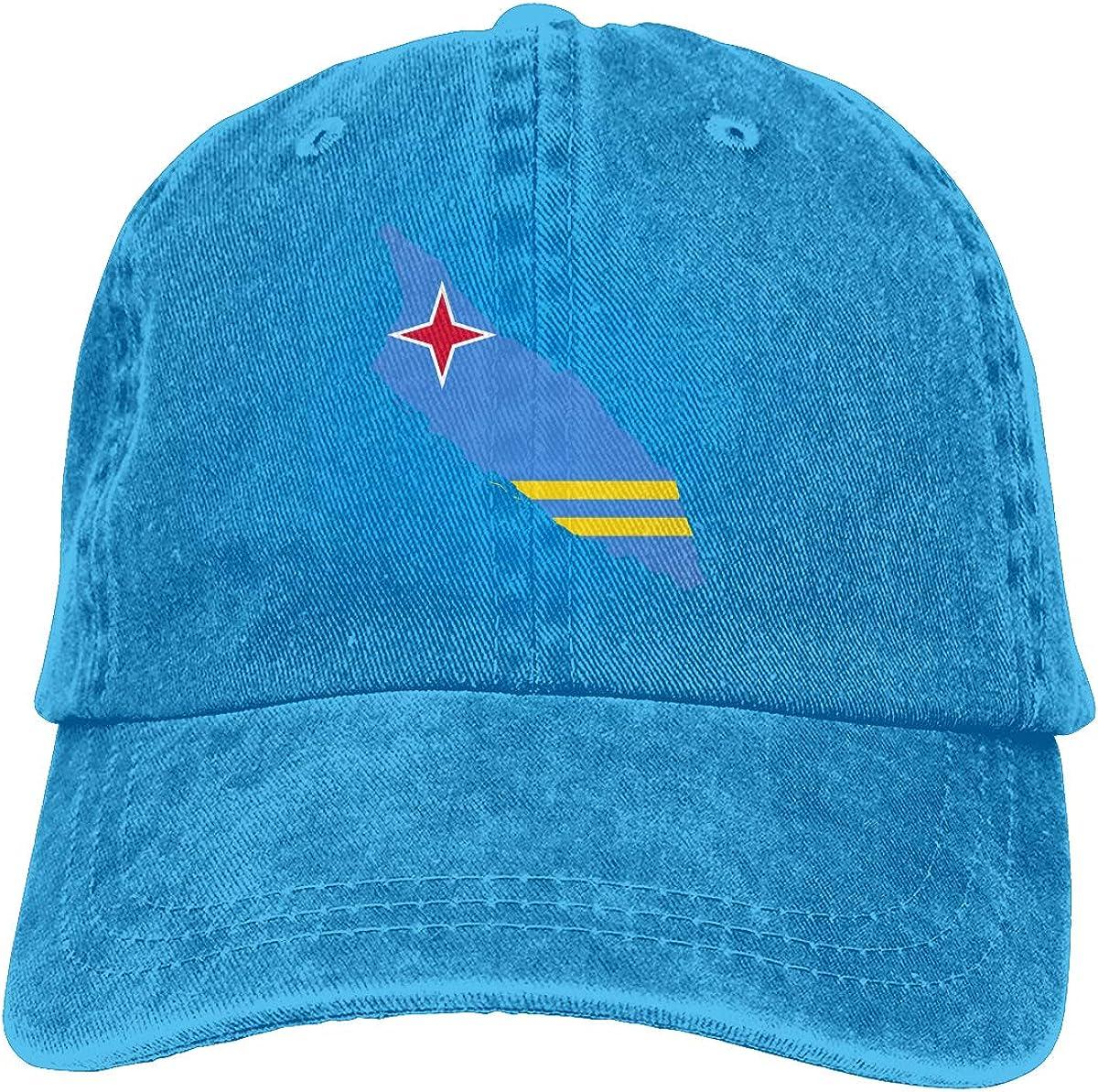 Adjustable Mens Denim Baseball Caps Flag Map of Aruba Funny Cotton Hats