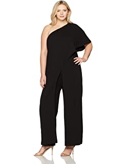Adrianna Papell Womens Flutter One Shoulder Jumpsuit At Amazon